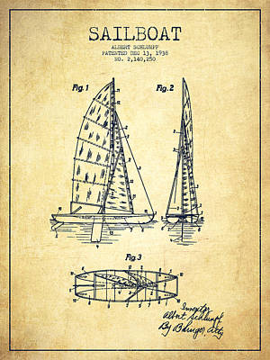 Sailboat Patent Drawing From 1938 - Vintage Poster by Aged Pixel
