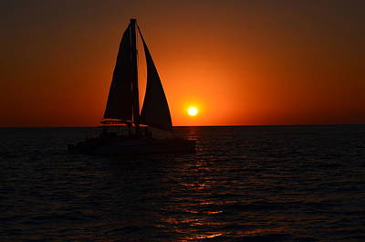 Sailboat Sunset Poster by James Petersen