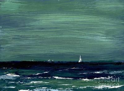 Sailboats Across A Rough Surf Ventura Poster