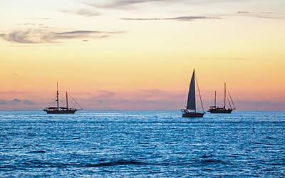 Sailboats At Sunset Off Key West Florida Poster