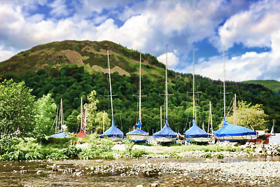 Sailboats Covered And Beached At Glenridding Poster