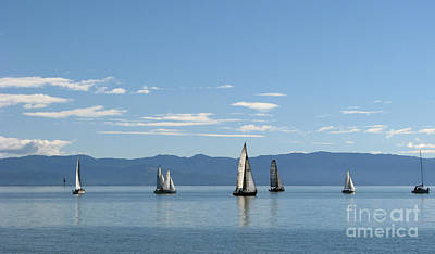 Poster featuring the photograph Sailboats In Blue by Jola Martysz