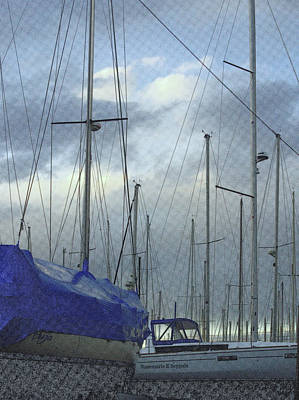 Sailboats In Dry Dock  Poster by Rosemarie E Seppala