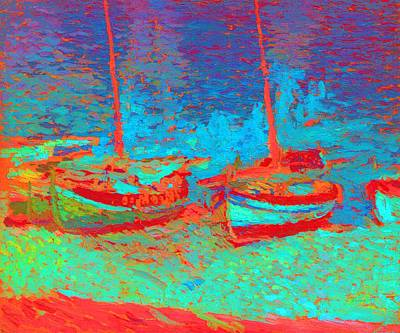 Sailboats In Port Collioure Iv Poster by Henri Martin - L Brown