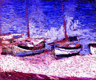 Sailboats In Port Collioure Ix Poster by Henri Martin - L Brown
