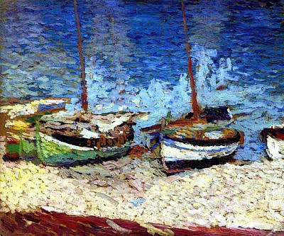 Sailboats In Port Collioure Vi Poster by Henri Martin - L Brown