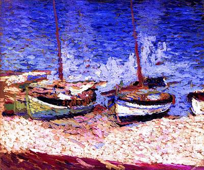 Sailboats In Port Collioure Vii Poster by Henri Martin - L Brown