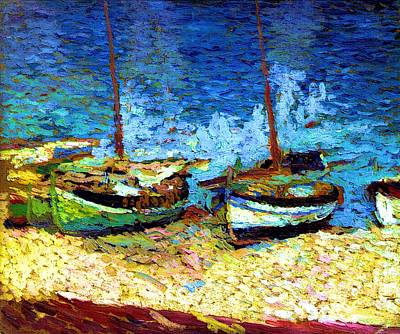 Sailboats In Port Collioure Viii Poster by Henri Martin - L Brown