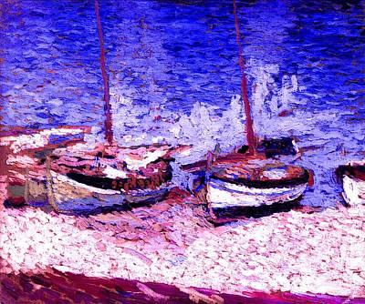 Sailboats In Port Colloiure Ix Poster by Henri Martin - L Brown