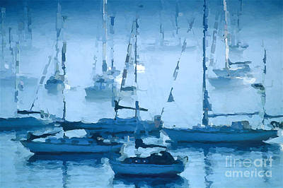 Sailboats In The Fog II Poster by David Perry Lawrence