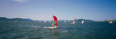 Sailboats In The Water, San Francisco Poster by Panoramic Images