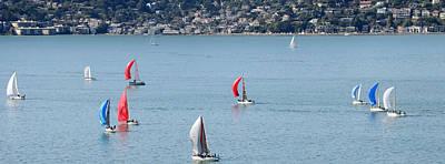 Sailboats On San Francisco Bay Poster by Panoramic Images
