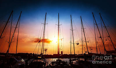 Sailboats On Sunset Poster