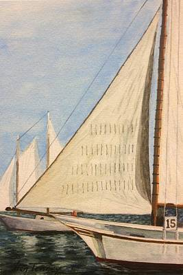 Poster featuring the painting Sailboats by Stan Tenney