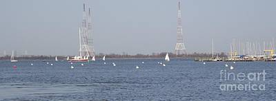 Sailboats With Chesapeake Bay Bridge Beyond Poster by Christina Verdgeline