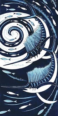 Sailfish, 2013 Woodcut Poster by Nat Morley