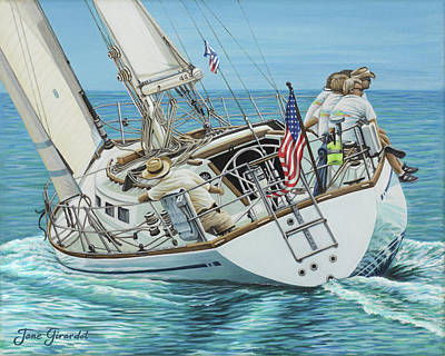 Poster featuring the painting Sailing Away by Jane Girardot