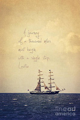 Sailing II With A Quote Poster by Angela Doelling AD DESIGN Photo and PhotoArt