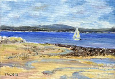 Sailing Through Bayside Maine Poster by Pamela Parsons