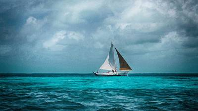 Sailing In Blue Belize Poster