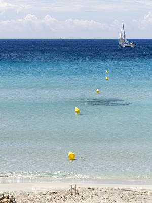 Son Bou Beach In South Coast Of Menorca Is A Turquoise Treasure - Sailing In Blue Poster by Pedro Cardona