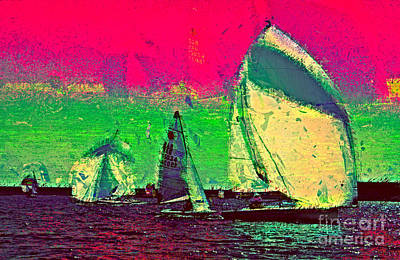 Poster featuring the photograph Sailing In Shimmer by Julie Lueders