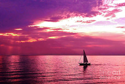 Sailing Into The Setting Sun Poster