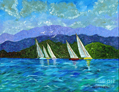 Poster featuring the painting Sailing by Laura Forde
