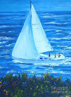 Sailing Off The Coast Poster
