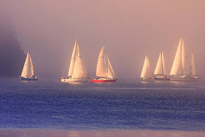 Sailing On A Misty Ocean Poster