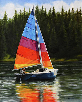 Sailing On Flathead Poster