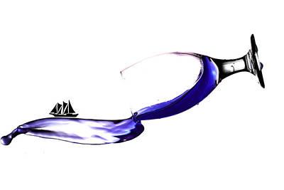 Sailing On Splashing Martini Poster by Paul Ge