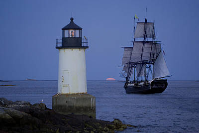 Sailing Out For The Red Moon Poster by Jeff Folger