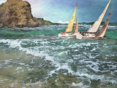Sailing Past The Rock Poster by Philip White
