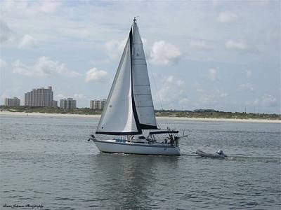 Poster featuring the digital art Sailing Ponce Inlet Florida by Brian Johnson