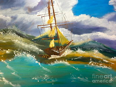 Sailing Ship In A Storm Poster by Pamela  Meredith