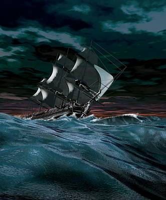 Sailing Ship In Rough Weather Poster