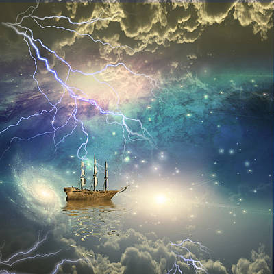 Poster featuring the digital art Sailing Ship Sails Through The Stars by Bruce Rolff