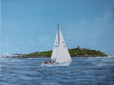 Sailing Through Dalkey Sound Poster by Tony Gunning