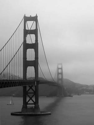 Sailing Under The Golden Gate Bridge Bw Poster by Connie Fox