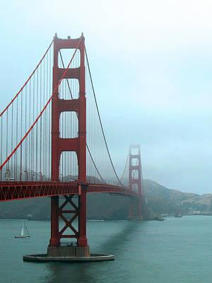 Sailing Under The Golden Gate Bridge Poster by Connie Fox