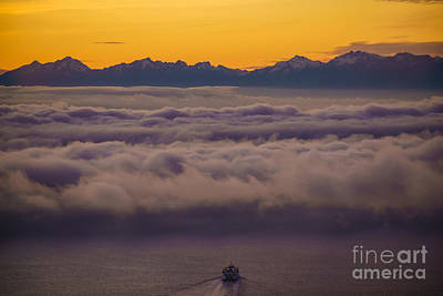 Sailing Westward Under The Fog Poster by Mike Reid