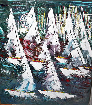Sailing With Friends - Sold Poster by George Riney