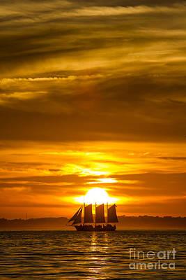 Sailing Yacht Schooner Pride Sunset Poster by Dustin K Ryan
