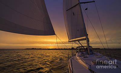 Sailing Yacht Sunset Charleston South Carolina Skyline Poster