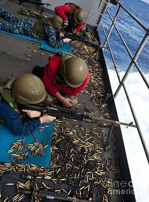 Sailors Fire M240 Machine Guns Poster by Stocktrek Images
