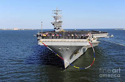 Sailors Man The Rails Aboard Uss Dwight Poster by Stocktrek Images