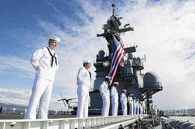 Sailors Man The Rails As Aboard Uss Poster by Stocktrek Images