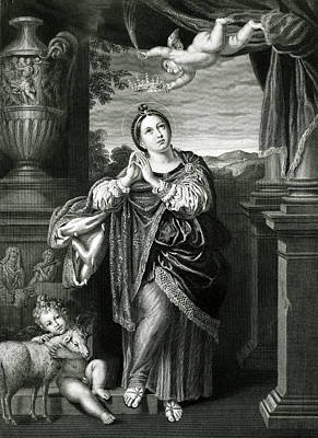 Saint Agnes Receiving A Martyr's  Crown Poster