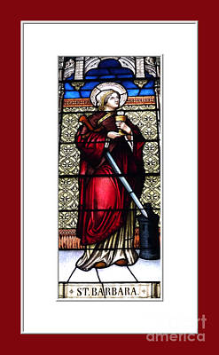 Poster featuring the photograph Saint Barbara Stained Glass Window by Rose Santuci-Sofranko